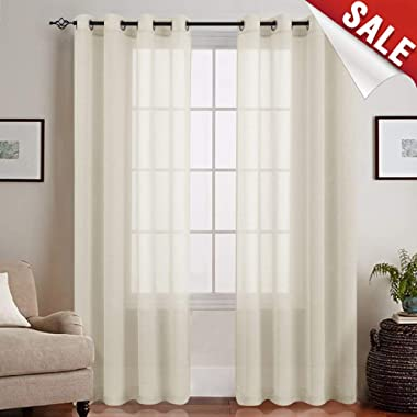 jinchan Sheer Curtains for Living Room Grommet Top Voile Window Panels for Bedroom (2 Panels, 50 by 63 Inch Long, Nature)