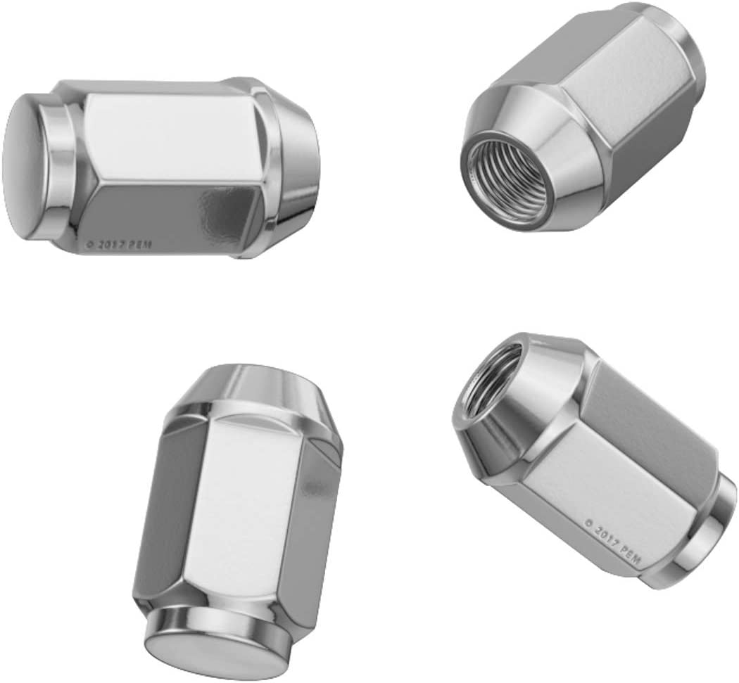 Metric 12x1.25 Threads, 1.4 inch length Compatible with Nissan Infiniti Subaru and More Conical Cone Taper Acorn Seat Closed End Installs with 19mm Hex Socket 4pcs Silver Chrome Bulge Lug Nuts