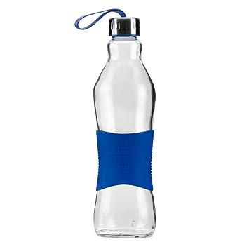 Grip & Go Botella de vidrio para beber/ para nevera 1.0L - Tapa de acero inoxidable