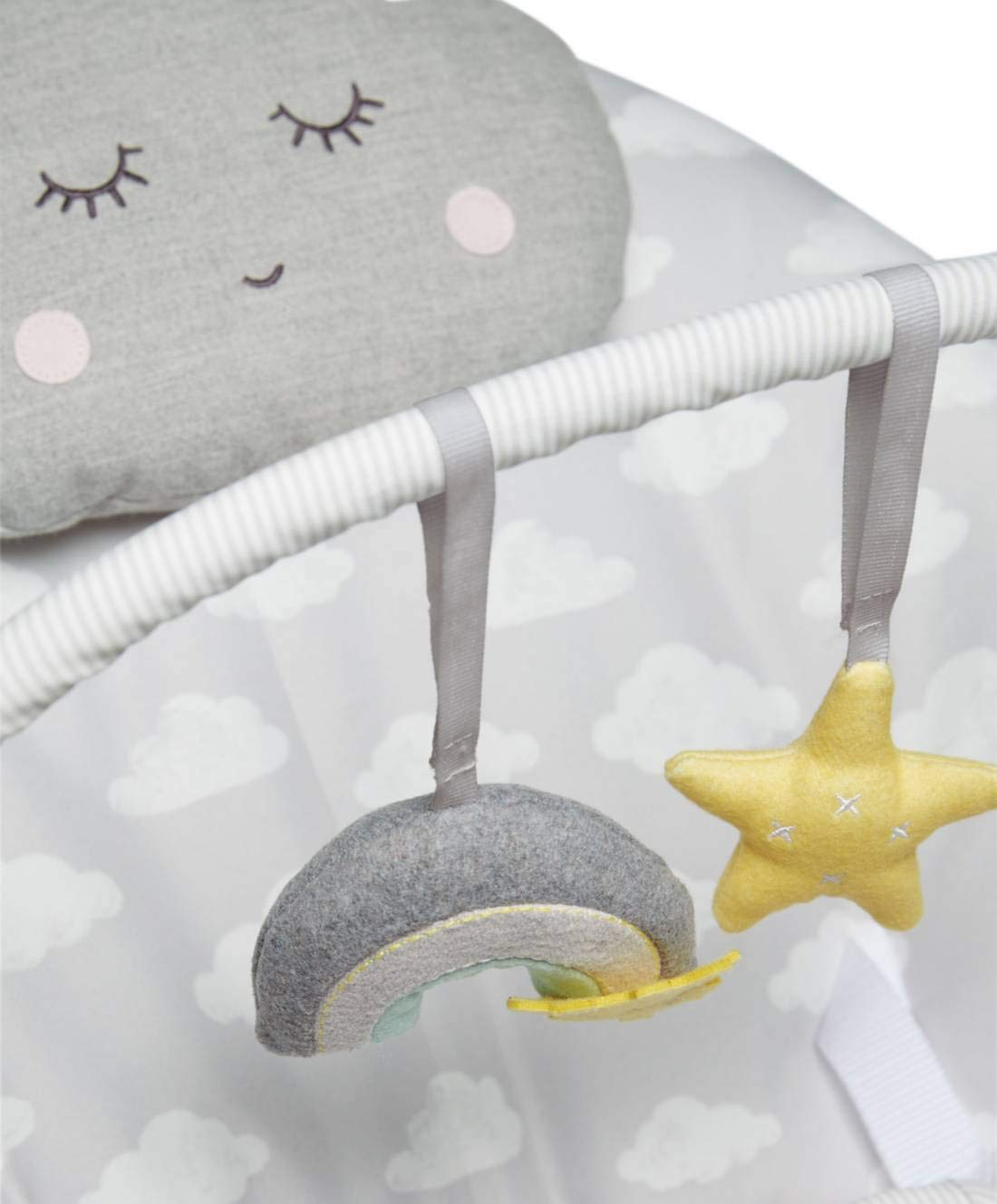 Suitable from 0-6 Months Mamas /& Papas Musical Vibrating Baby Capella Bouncer Cradle Package with 2 Safety Doorstops Cloud Design