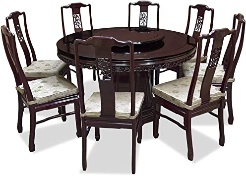 Amazon Com Chinafurnitureonline 54in Rosewood Flower Bird Design Round Dining Table With 8 Chairs Cherry Table Chair Sets