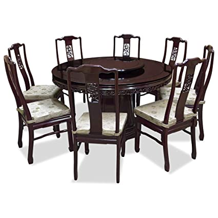 dae3eb9ecf7ac Image Unavailable. Image not available for. Color  ChinaFurnitureOnline  54in Rosewood Flower   Bird Design Round Dining Table with 8 Chairs ...