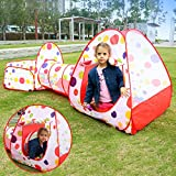 EocuSun Polka Dot 3 in 1 Folding Kids Play Tent with Tunnel, Ball Pit and Zippered Storage Bag
