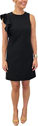 Julia Jordan Women's Ruffle Shoulder Round Neck Shift Dress