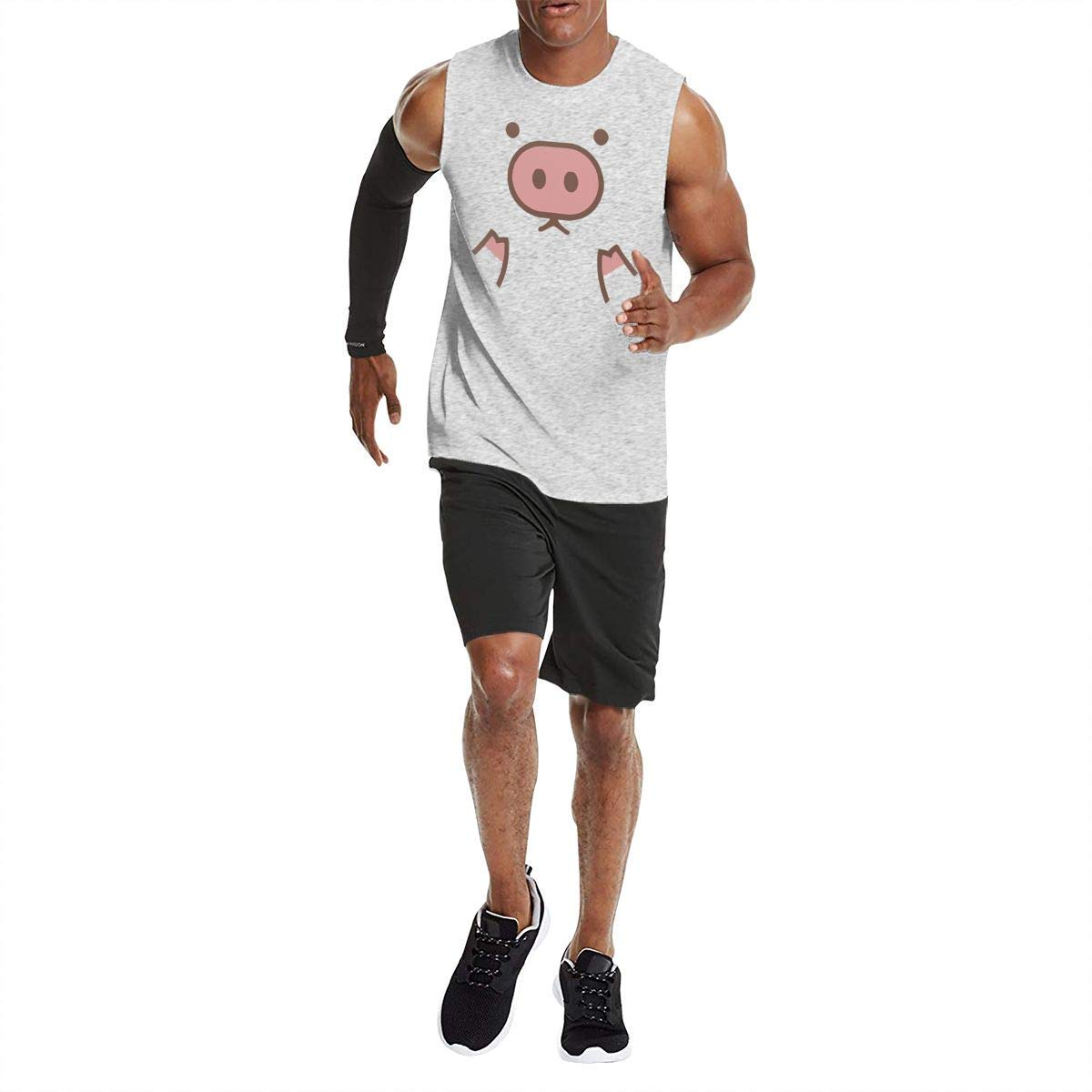 Mens Summertime Sleeveless T-Shirt Cotton Short-Sleeve Tank Piggy Cute Pig Cartoon Printed
