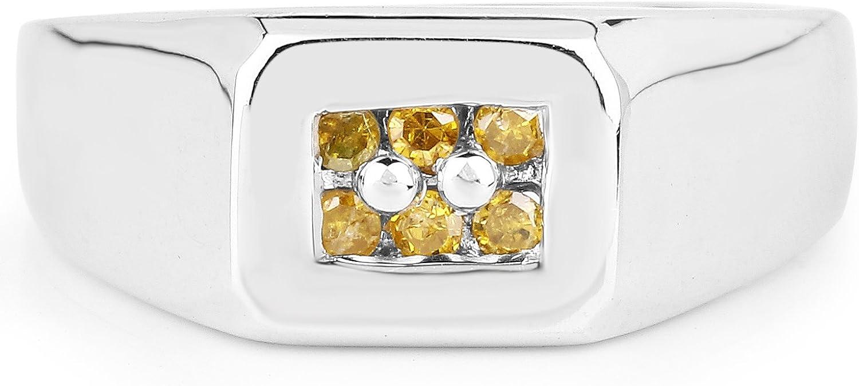 0.14 Carat Genuine Yellow Diamond .925 Sterling Silver Ring