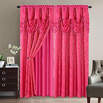 Amazon.com: Elegant Home Window Curtain Drapes All-in-One Set with ...