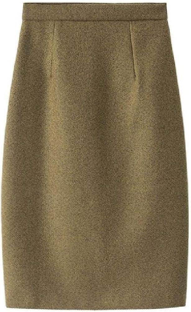 Otoño e Invierno Elegante Falda de Lana de Cintura Alta Bolso de Color sólido Camisa de Cadera sobre la Rodilla Falda lápiz Mujeres