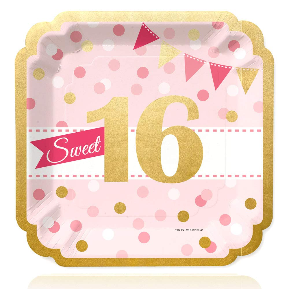 Big Dot of Happiness Sweet 16 with Gold Foil - 16th Birthday Party Dinner Plates (16 Count)