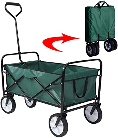 Acyon Carretillas de Carro Plegable con Frenos Carro Plegable de Mano Carro Transporte para jardín Carro para Playa Carga hasta 80kg,Verde: Amazon.es: Hogar