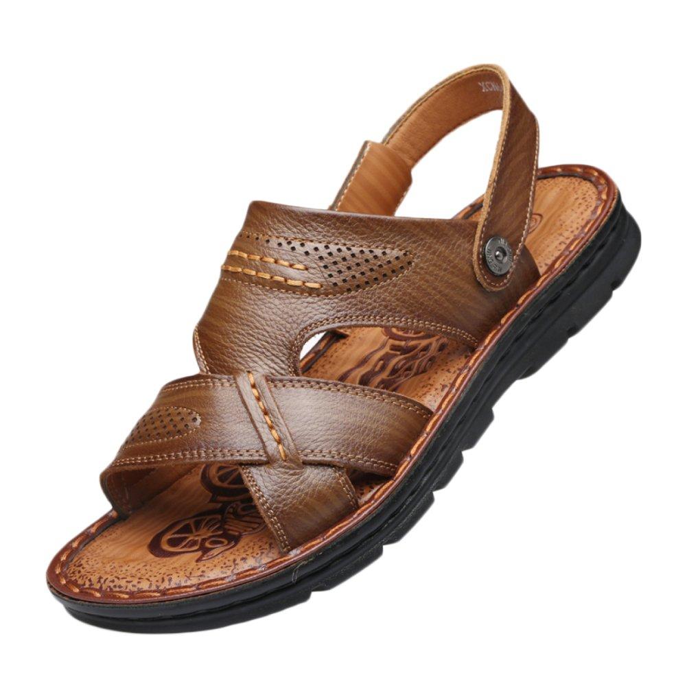 snfgoij Sandalias Para Hombres Deportes Al Aire Libre Ajustables Zapatos De Playa Cómodos Verano Punta Abierta De Piel De Vaca Casual Antideslizante 44 EU|Darkbrown