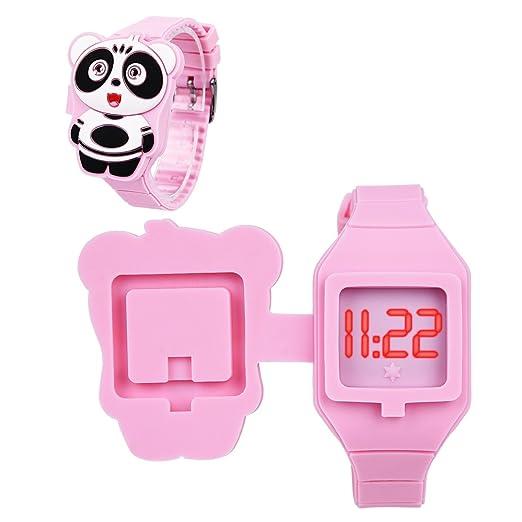 CkeyiN Reloj de silicona para niños, diseño de animales de dibujos animados, pantalla digital LED, electrónico, con tapa: Amazon.es: Relojes