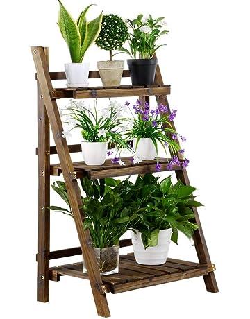 b4b699353fe3 Yaheetech 3 Tier Folding Plant Stand Shelves Garden Wooden Flower Pot  Display Ladder
