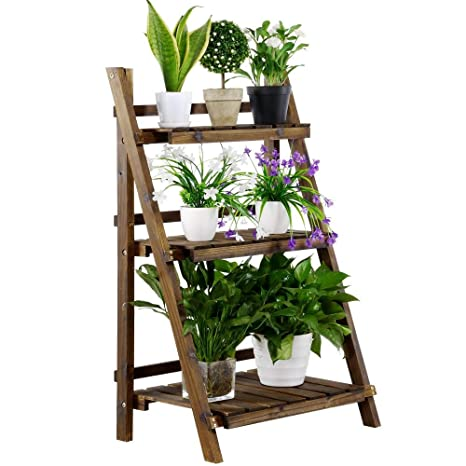 eb707c994848 Yaheetech 3 Tier Folding Wooden Plant Stand Wood Organizer Flower Pot Stand  Plant Display Shelf Rack Ladder Garden Indoors Outdoors 24'' x 15'' x 37