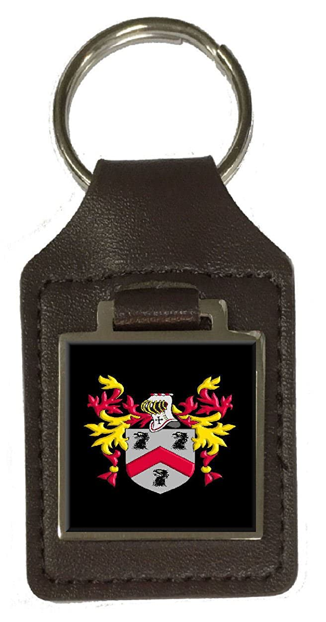 Walton Family Crest Surname Coat Of Arms Brown Leather Keyring Engraved