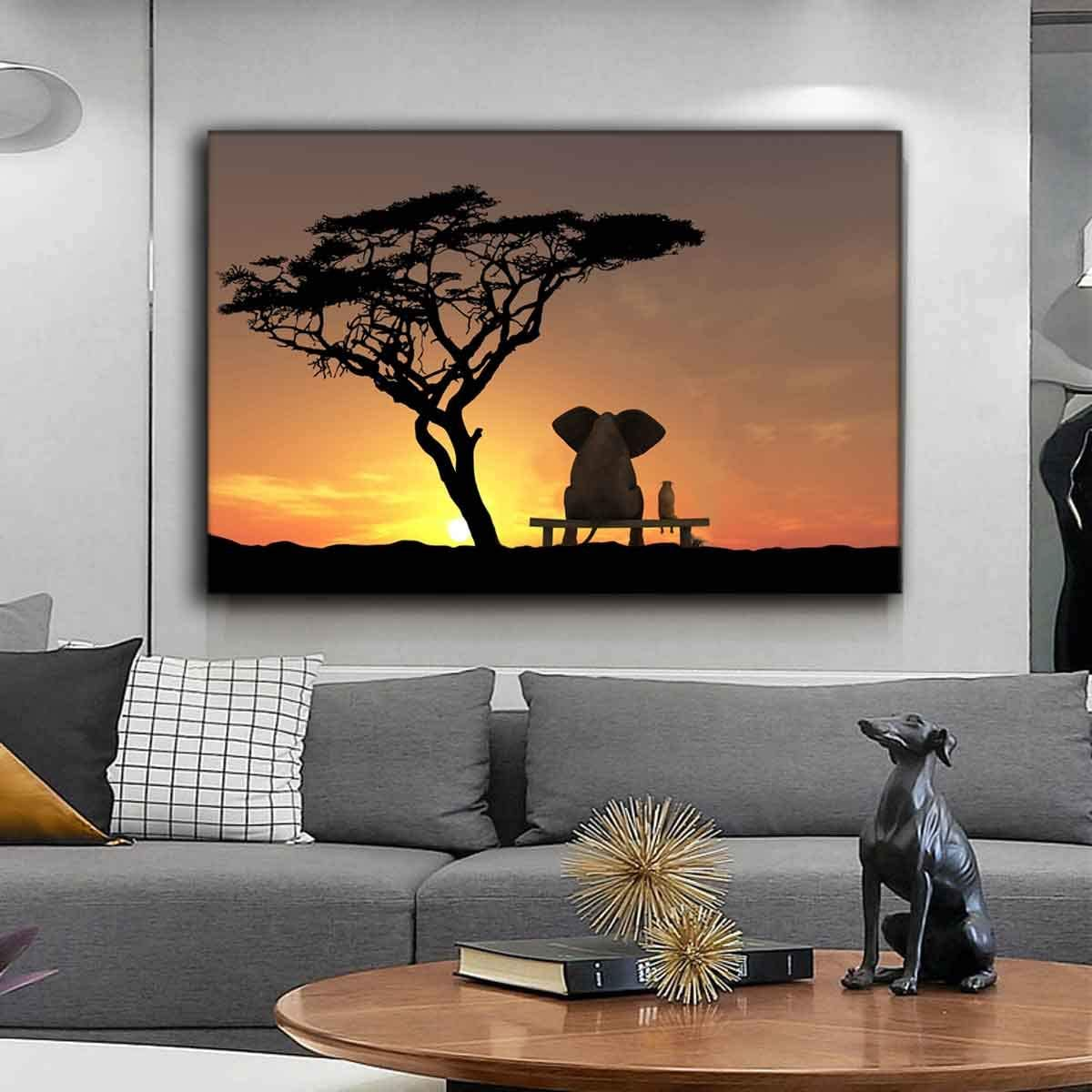 QH QH WURONG Animal Wall Art Funny Elephant Look at The Moon Before Sunset Canvas Prints with Wooden Framed Moon Poster for Living Room Kid Room Ready to Hang 12x18inchesx1pcs(Style A)