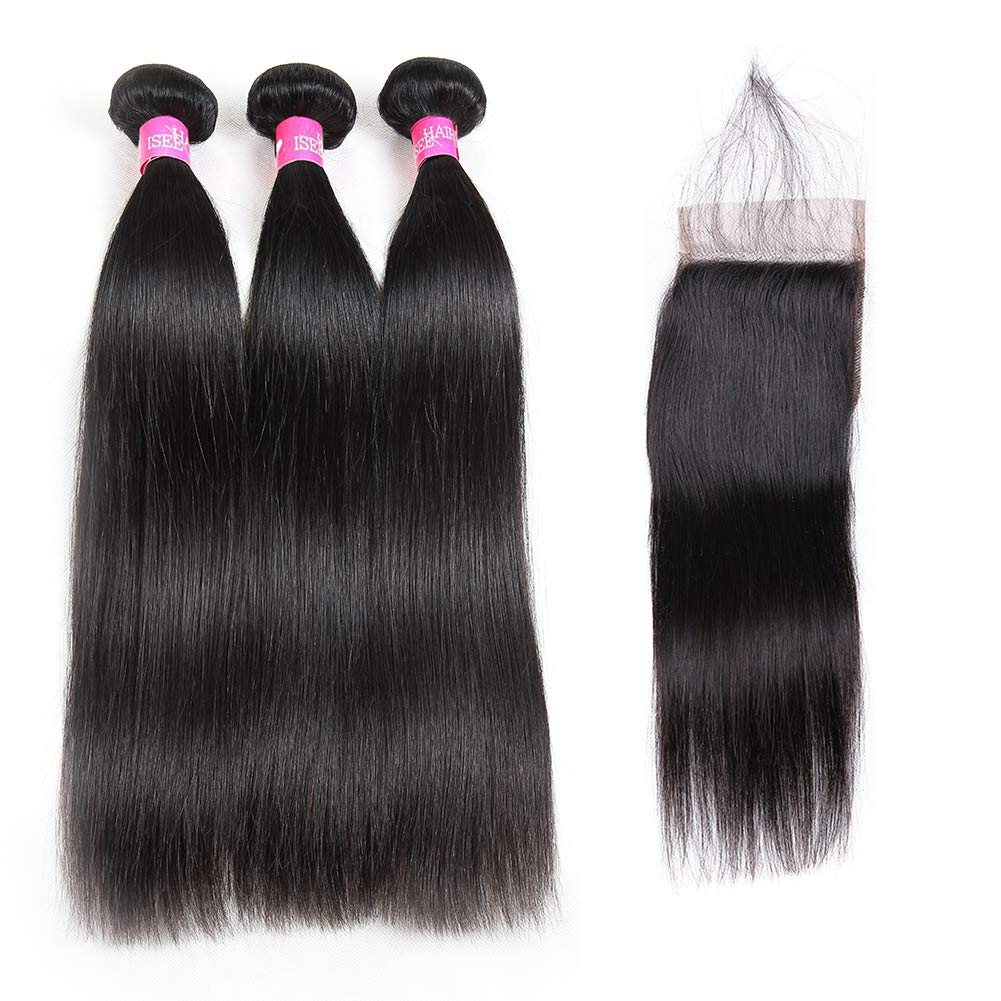 ISEE Hair 8A Malaysian Straight Hair 3 Bundles With Closure Virgin Unprocessed Human Hair Wefts Hair Extensions Deal With Mixed Lengths 14 16 18 Inches With 12 Inches Free Part Closure