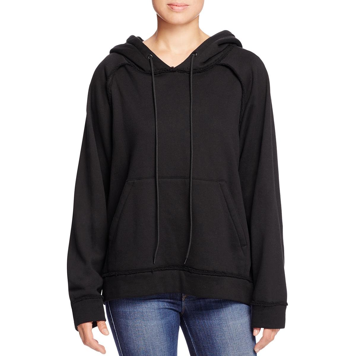 DKNY Womens Cut Out Graphic Hooded Sweatshirt Black S by DKNY