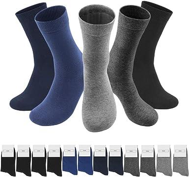 QINCAO Calcetines Hombres Mujeres 12 Pares Ejecutivos de Algod/ón Transpirables Uso Diario Paquete de 12 Calcetines Deportivos para Correr