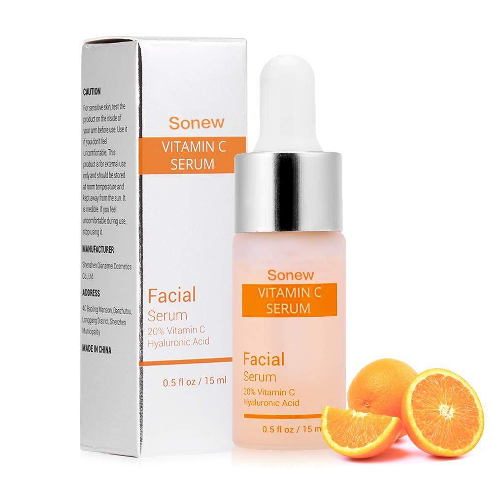Suero Facial orgánico Vitamina C para la Cara con ácido hialurónico Eliminar Las Arrugas Hidratante Blanqueamiento Esencia de Cuidado de la Piel: Amazon.es: ...
