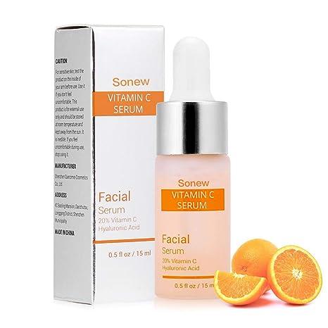 Suero Facial orgánico Vitamina C para la Cara con ácido hialurónico Eliminar Las Arrugas Hidratante Blanqueamiento