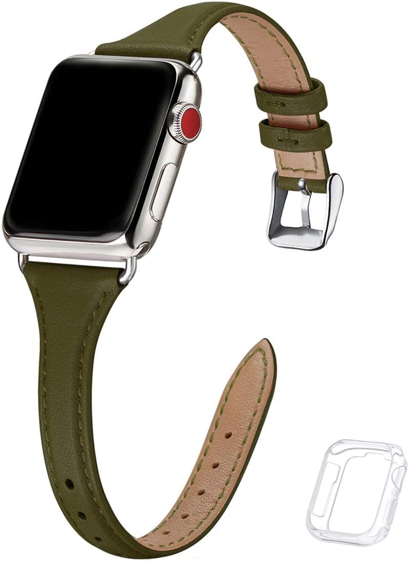 Bestig Leather Band Compatible for Apple Watch 38mm 40mm 42mm 44mm, Slim Thin Genuine Leather Replacement Strap for iWatch Series 6 SE 5 4 3 2 1(Olive Green Band+Silver Adapter, 38mm 40mm)