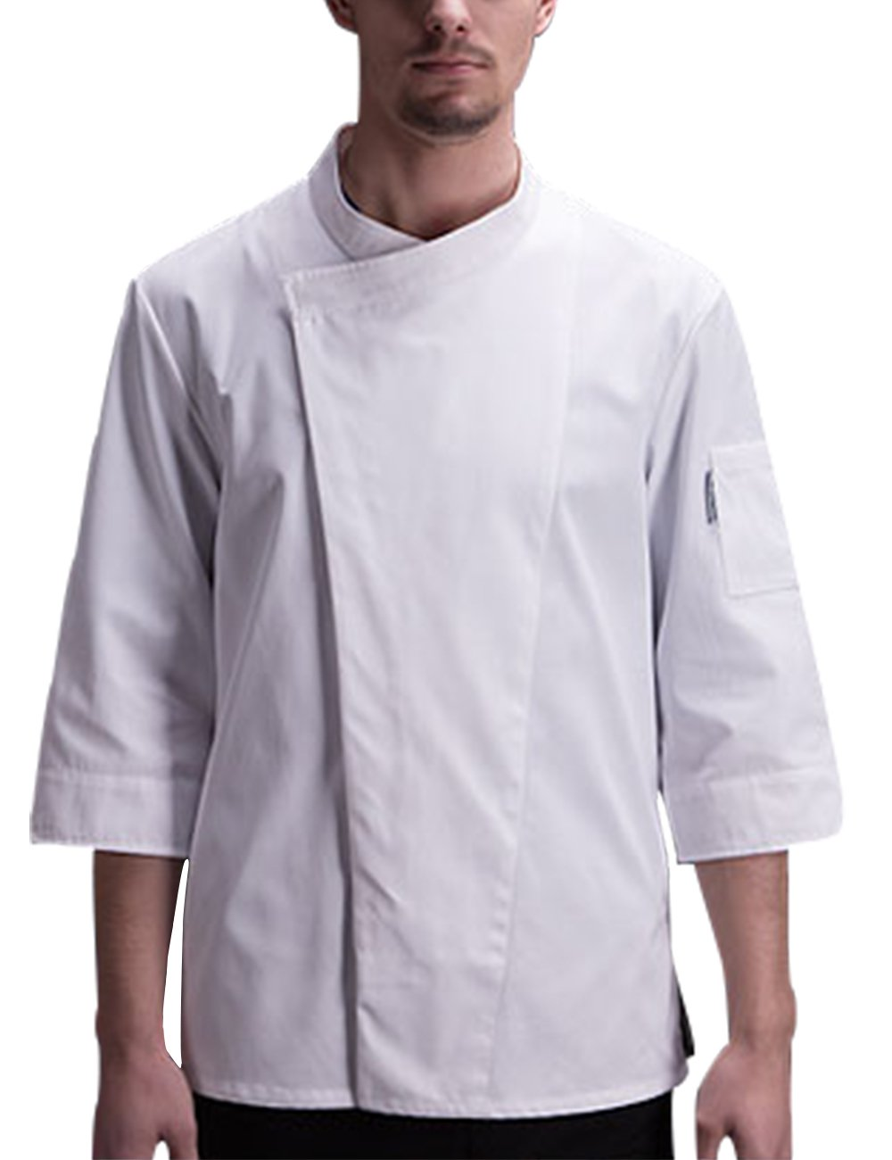 Boupiun Mens Chef Coat 3/4 Sleeve with Concealed Snap Front Placket Summer Chef Jackets(S-3XL,4Colors)