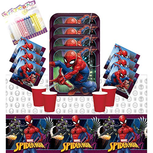Spiderman Party Supplies Pack Serves-16: Dinner Plates Luncheon Napkins Cups and Table Cover with Birthday Candles - Deluxe (Bundle for 16)