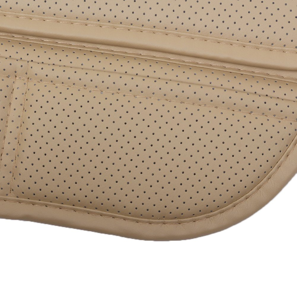 2-Pack,Beige Car Seat Pad with PU Leather Bamboo Charcoal Car Seat Protector for for Auto Supplies Office Chair,Single Seat Without Backrest JOJOHON Car Seat Cushion
