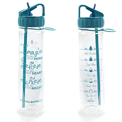 feaec7378e Motivational Bottle 30oz Fitness Workout Sports Water Bottle with Unique  Timeline | Measurements | Goal Marked Times for Measuring Your Daily Water  Intake, ...