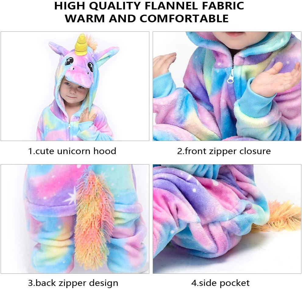 Flannel Animal Cosplay Costume Halloween Sleepwear Nightwear Hoodie for Girl 8-10 Years Height 125-134 cm MMTX Unisex Unicorn Kids Onesie Pyjamas