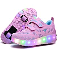 Nsasy Roller Shoes Girls Boys Wheel Shoes Kids Roller Skates Shoes LED Light Up Wheel Shoes for Kids for Kids for…
