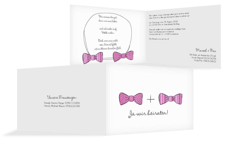Hochzeit Einladung Fliegen, 20 Karten, RosaRosa B07B6R5HJ2   Online-Shop    Tadellos    Erste Qualität