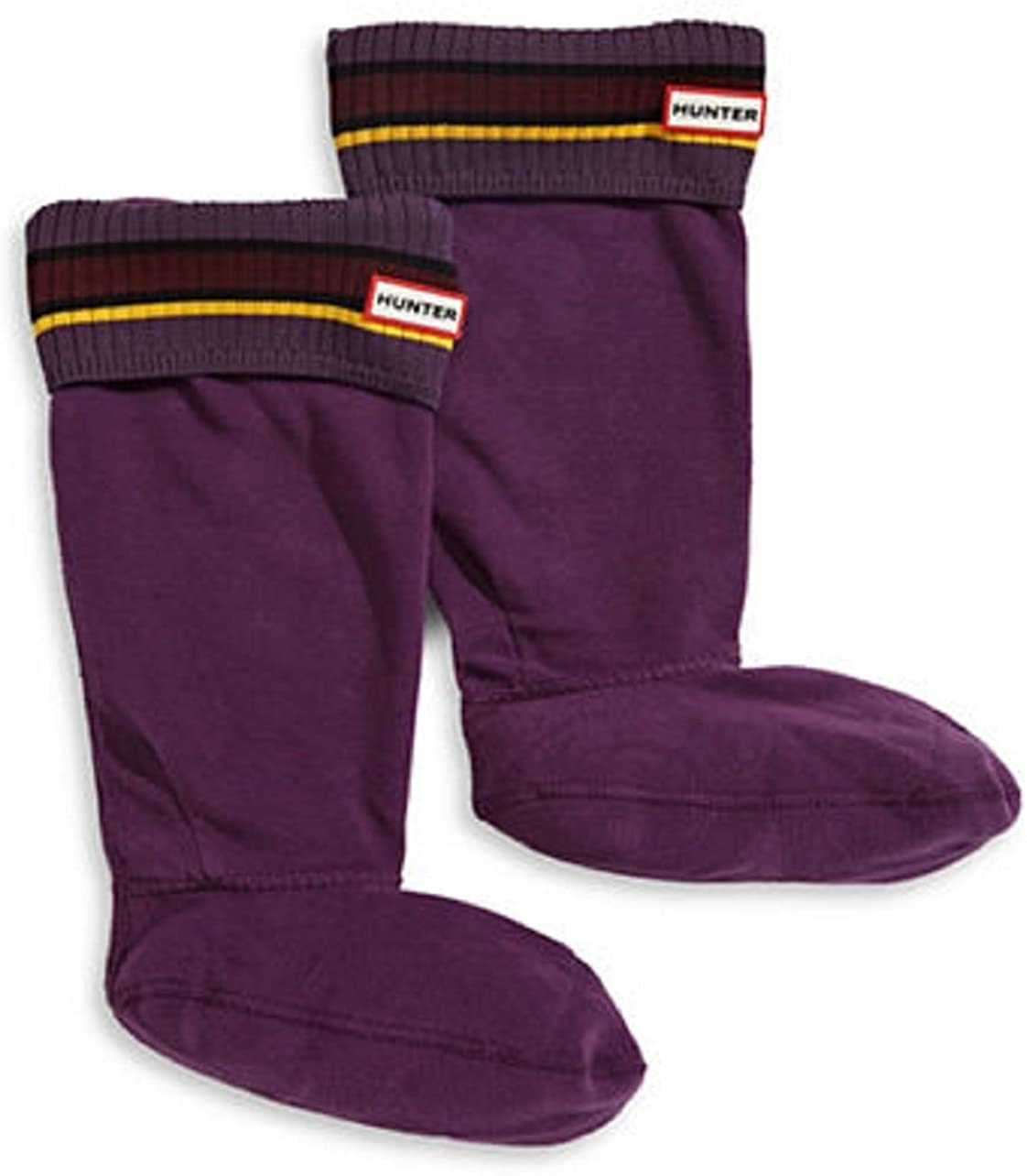 Womens Hunter Buoy Stripe Boot Socks Size Medium Purple