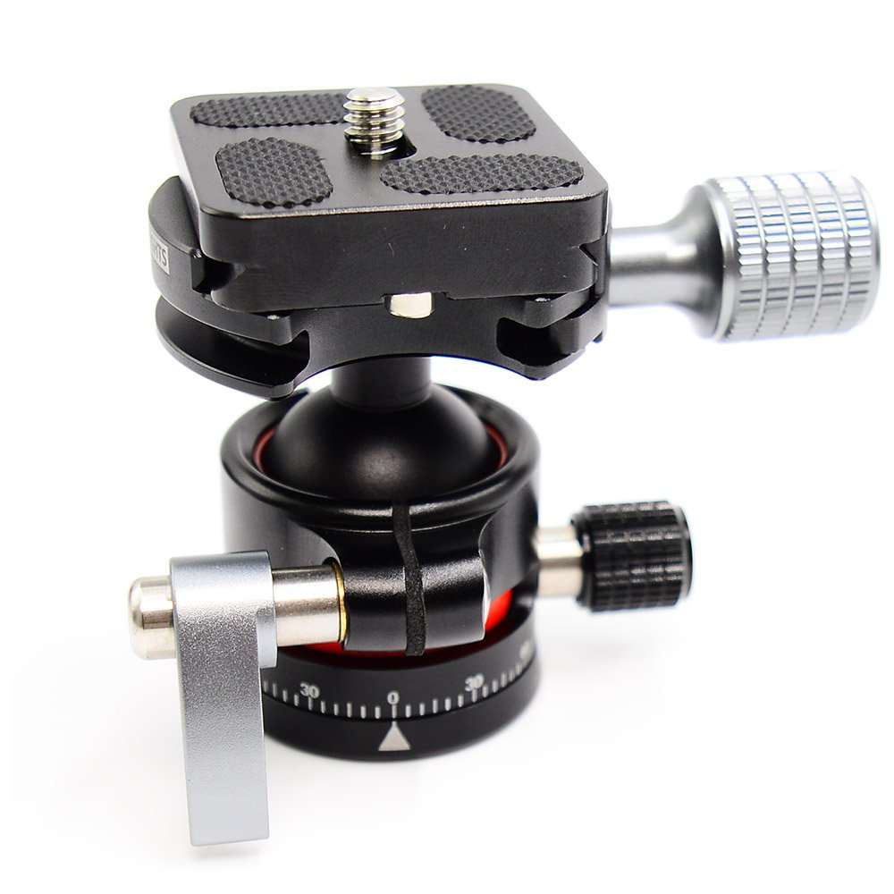 koolehaoda E2 Tripod Ball Head double Panoramic Head + Quick Release Plate For Camera Tripod, net weight only 280G,Maximum load: 12KG (CNC process) koolehaoda ballhead