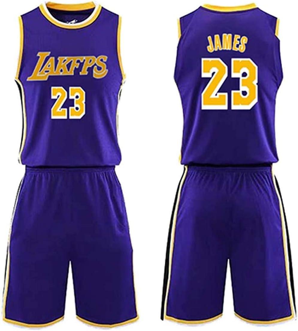 ZSM Tuta da Basket da Uomo Lakers # 23 Lebron James Maglia da Basket Senza Maniche Abbigliamento da Basket per Adulti E Bambini compresi Pantaloncini