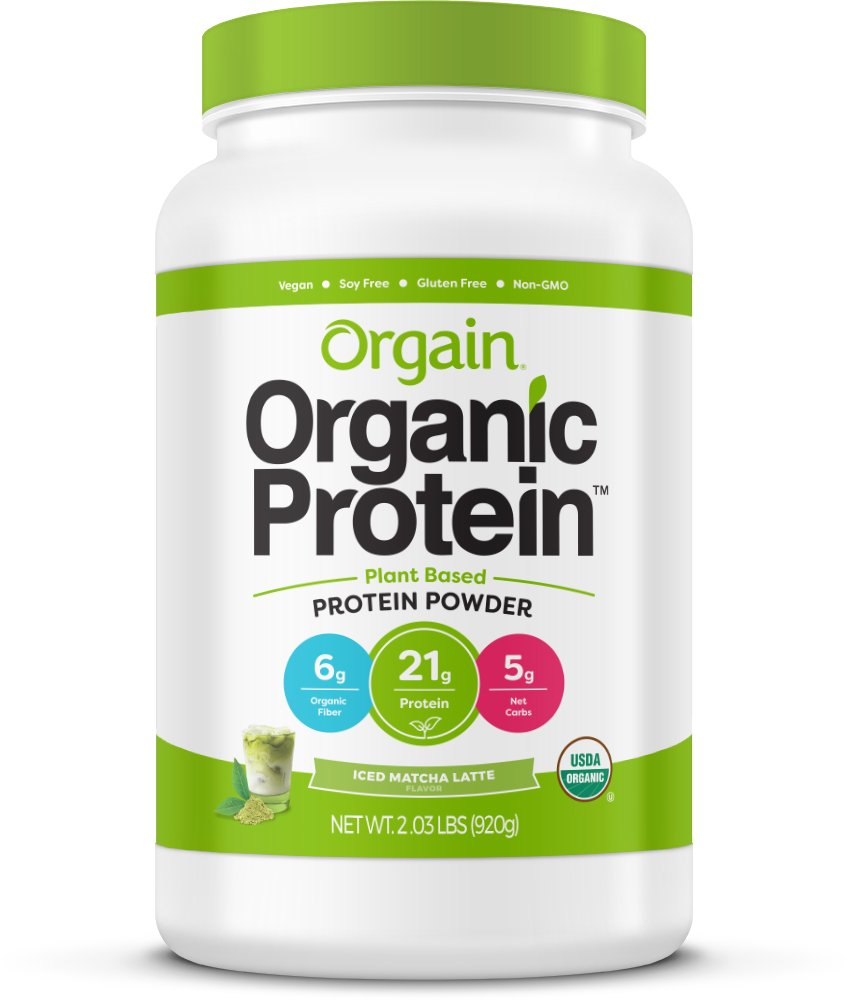 Orgain Organic Plant Based Protein Powder, Iced Matcha Latte, 2.03 Pound, Packaging May Vary