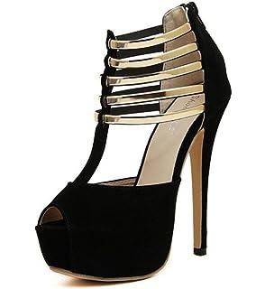 3895610abd6f15 LINYI T-Strap Open Toe Stiletto Heels Wasserdichte Plattform High Heels  Damen Sommer Neue Wildleder