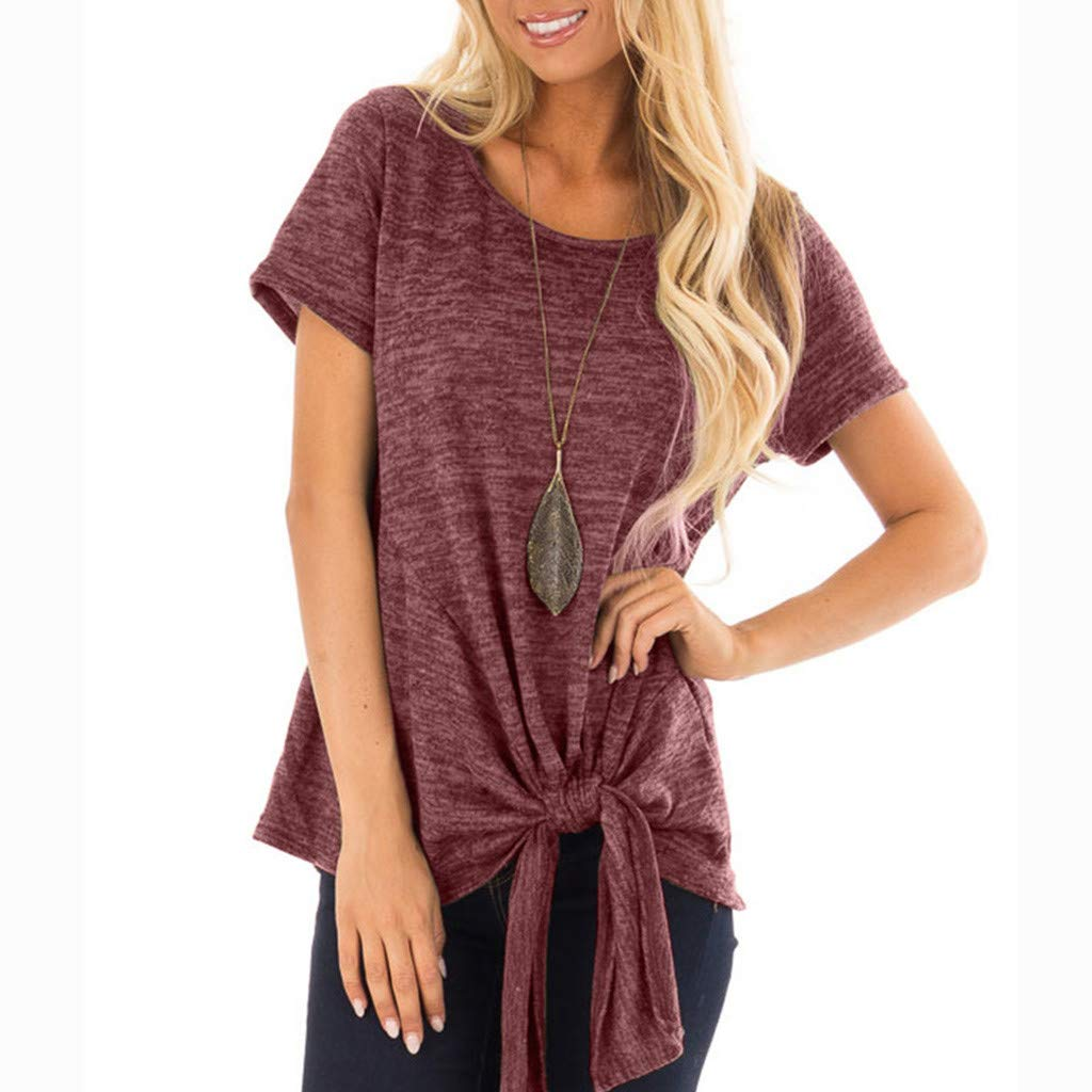 Women's Short Sleeve Tops Shirts Crewneck Knot Twist Front Solid Casual Tunic Blouse (M, Wine)
