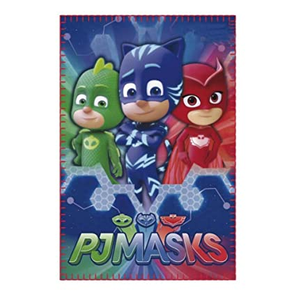 PJ Masks Héroes en Pijamas 2200002418, Manta Polar con Gatuno, Buhíta, Gecko,