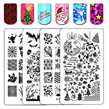Ejiubas Double-Side All New Designs Nail Art Stamp Collection Image Plate Set Holiday Series For Halloween & Christmas 2 PCS