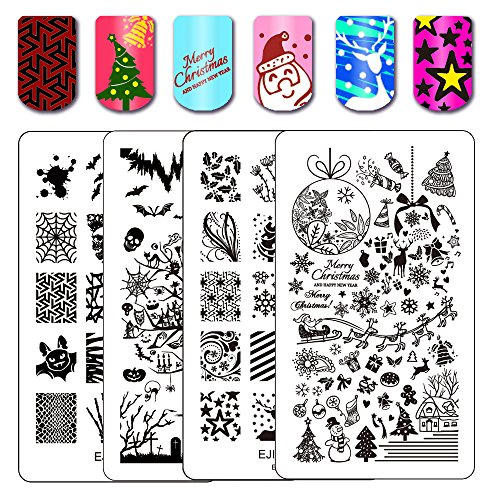 Ejiubas Stamping Plates Christmas Nail Stamping Kits Halloween & Christmas Image Nail Art Plates Manicure Tools Double-sided 2 Counts 4 Sides Christmas gift idea -