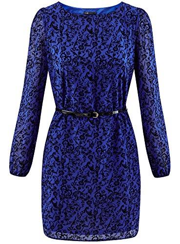 Robe Floqu Bleu 7529f Imprim Chiffon Ultra avec Femme oodji en AxqW4PTSFw