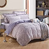 Auvoau Bedding Set, Floral Pattern Purple Background Soft Flannel Duvet Cover Sets (Queen, 5pc with comforter)