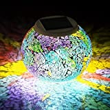 Solar Mosaic Glass Ball Garden Lights,KINGCOO Waterproof Color Changing Mood Night Lights Solar Outdoor Table Lamp for Bedroom Party Garden Patio Yard Decoration Lighting (Tricolor Plating)