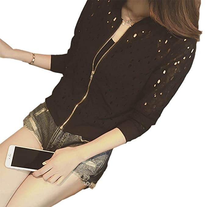 Pretty-sexy-toys Lace Hollow Out Jackets Casual Slime Women Thin Jacket Lady Outwear Plus Size at Amazon Womens Coats Shop