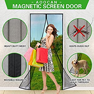 """Aoocan Magnetic Screen Door with Heavy Duty Mesh Curtain and Full Frame Velcro Fits Door Size up to 36""""-82"""" Max- Black"""