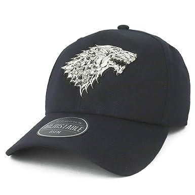 91b543e9d5c76 Armycrew Game of Thrones Sculpted Metallic Stark Wolf Structured Baseball  Cap - Black