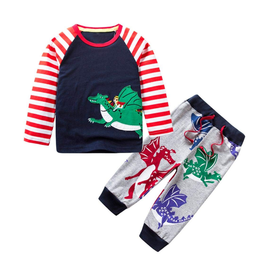 Little Boy Dinosaur Autumn Sets,Jchen(TM) Kids Infant Baby Little Boys Animal Dinosaur Print Cartoon Striped Tops+Pants Outfits for 1-7 Y (Age: 4-5 Years Old)
