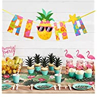 Luau Party Banner Aloha Pineapple Banner Hawaiian Luau Garland Summer Tropical Party Supplies